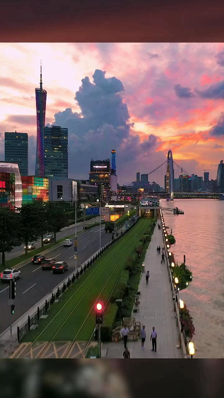 今天的晚霞很美,广州晚霞,广州塔#带上花椒去旅行 #花椒热点
