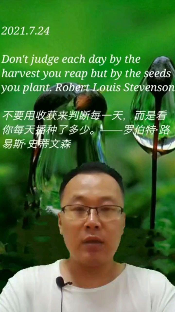 不要用收获来判断每一天,而是看你每天播种了多少。