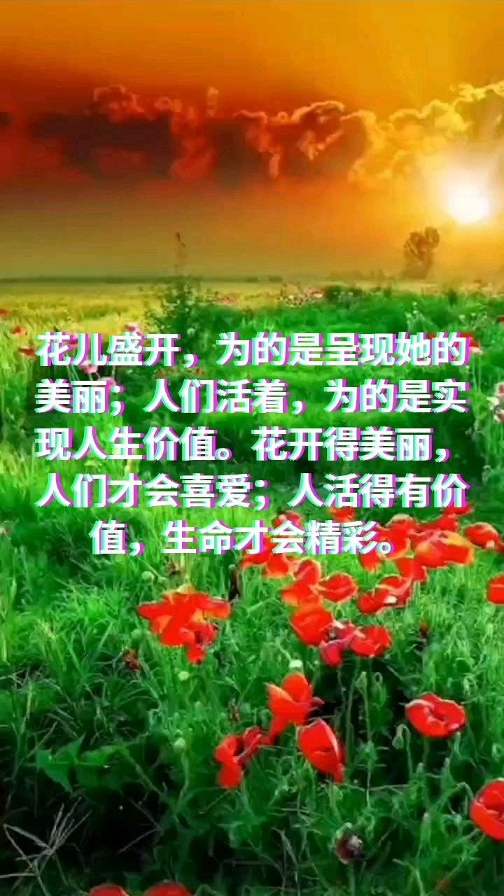 花儿盛开,为的是呈现她的美丽;人们活着,为的是实现人生价值。花开得美丽,人们才会喜【嘀~】活得有价值,生命才会精彩。